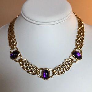 Trifari Gold Purple Cabochon Necklace